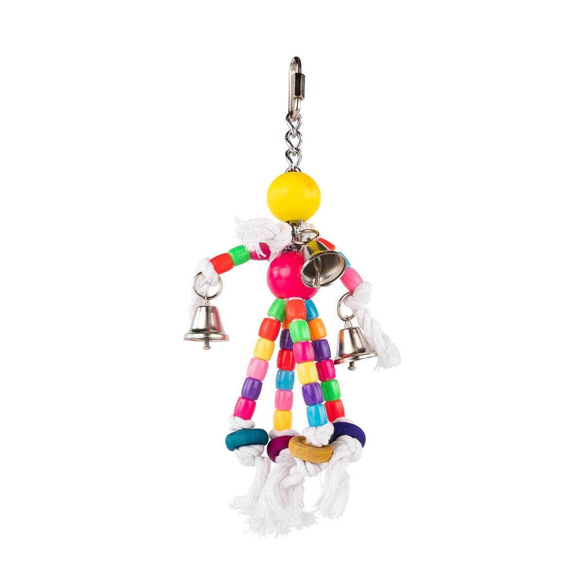 Vogelspeelgoed Plastic Kralen met 4 Katoen en Bel 24 cm