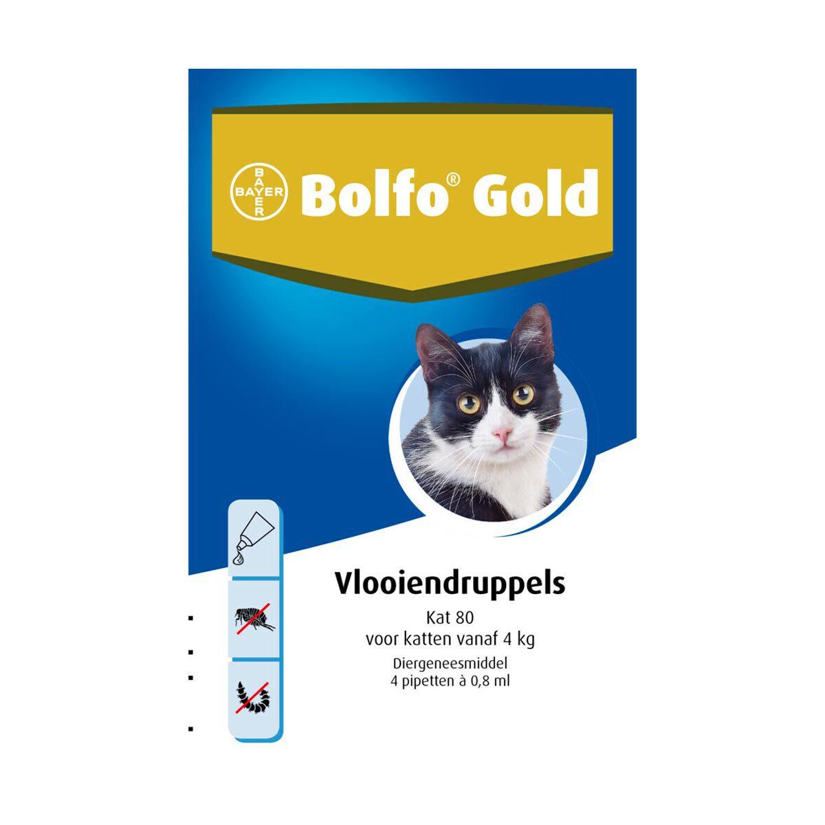 Bolfo Gold Kat 80 Vlooiendruppels vanaf 4 kg 4 pipetten