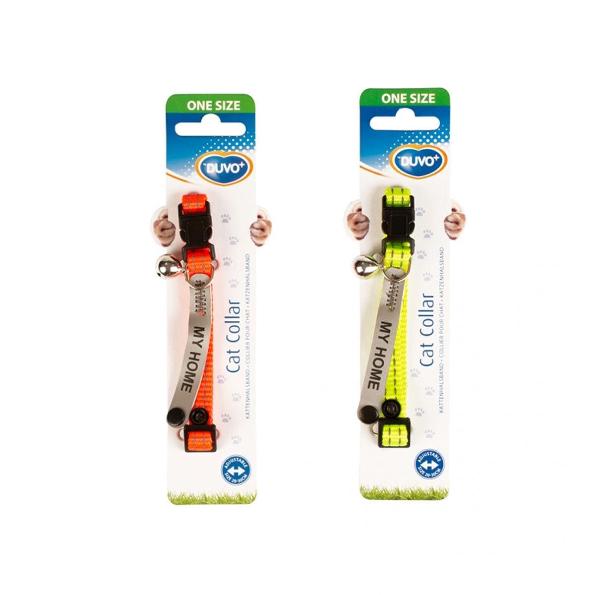 Duvo+ Reflecterende Kattenhalsband Universeel Adres 20-30cm 10mm Oranje-Geel - in Tuigjes & Halsbanden