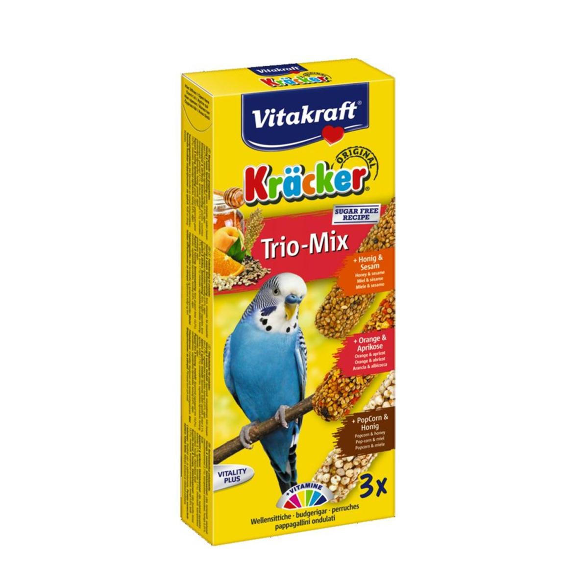 Vitakraft Trio Mix Kräcker Vogelsnack Parkiet 3in1 Honing-Sinaasappel-Popcorn