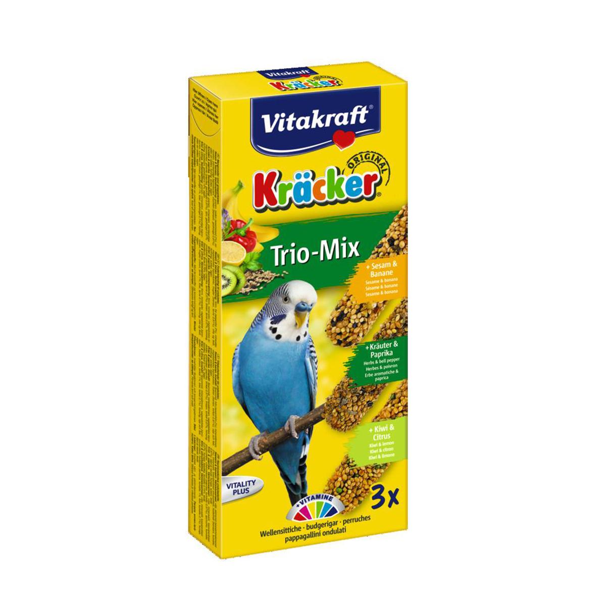Vitakraft Trio Mix Kräcker Vogelsnack Parkiet 3in1 Banaan-Kruiden-Kiwi